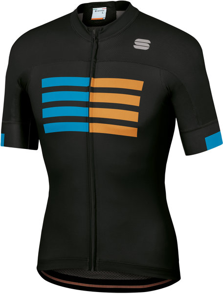 Sportful Wire Jersey Color: Black/Blue Atomic/Gold