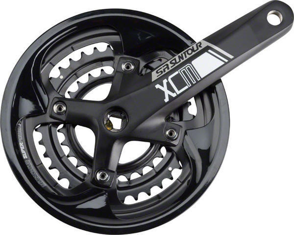 SR Suntour XCM-T Crankset Bottom Bracket | Chainrings | Color | Length: Square taper | 48/36/26 | Black | 170mm