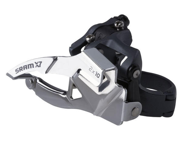 SRAM X7 2x10 Front Derailleur<br>(High-clamp, Bottom-pull) Image may differ.