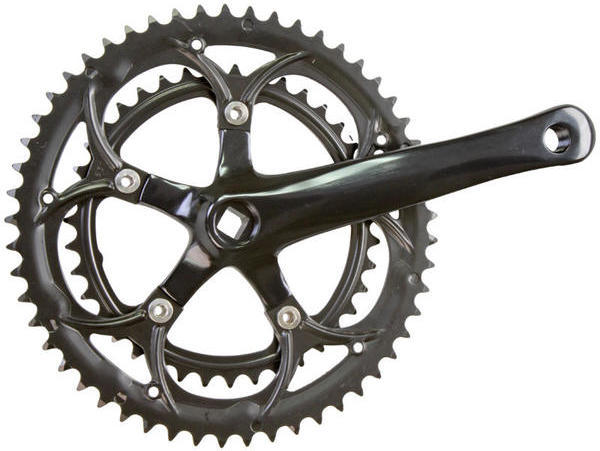 Sunlite Alloy Double Crankset - Road Chainrings | Color | Length: 53/39 | Black | 170mm