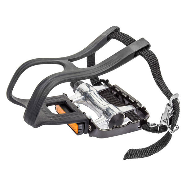 Sunlite Low Profile Alloy ATB Pedals with Toe Clips Color: Silver/Black