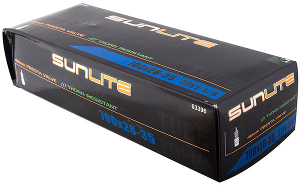 Sunlite Thorn-Resistant Presta Valve Tube 700 x 28-35 (27 x 1 1/4) Size | Valve Length | Valve Type: 700c x 28 – 35 | 48mm | Threaded