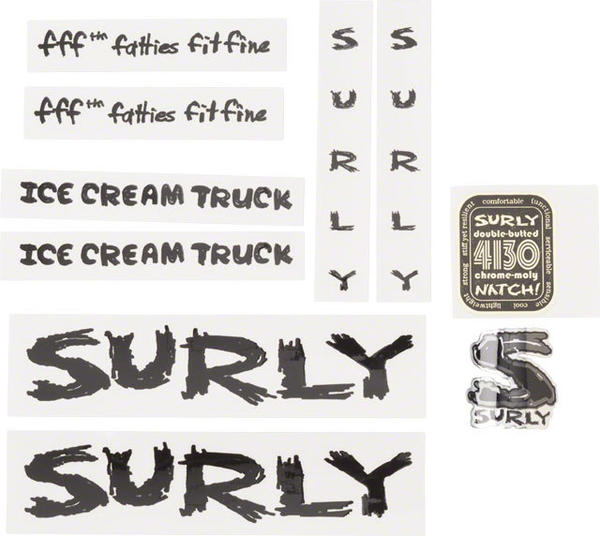 Surly Ice Cream Truck Frame Decal Set Color: Black