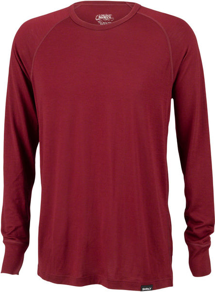 Surly Merino Raglan Long Sleeve T-Shirt Color: Cabernet