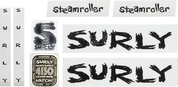 Surly Steamroller Frame Decal Set Color: Black