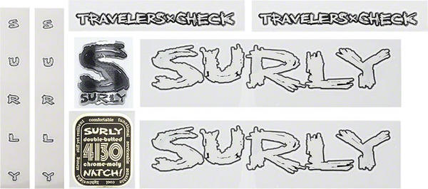 Surly Travelers Check Frame Decal Set Color: White