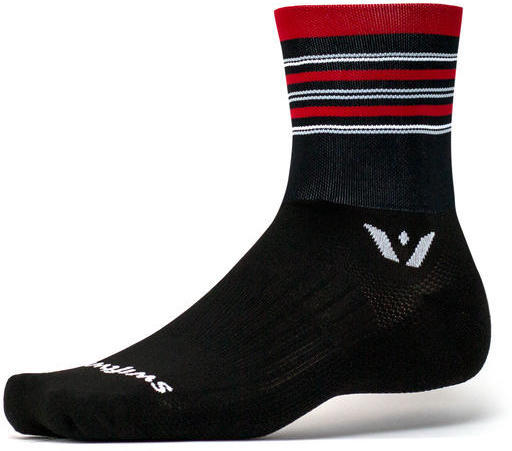 Swiftwick Aspire Four Socks Color: Stripe Black Red Gray
