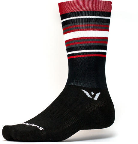 Swiftwick Aspire Seven Socks Color: Stripe Black Red Gray