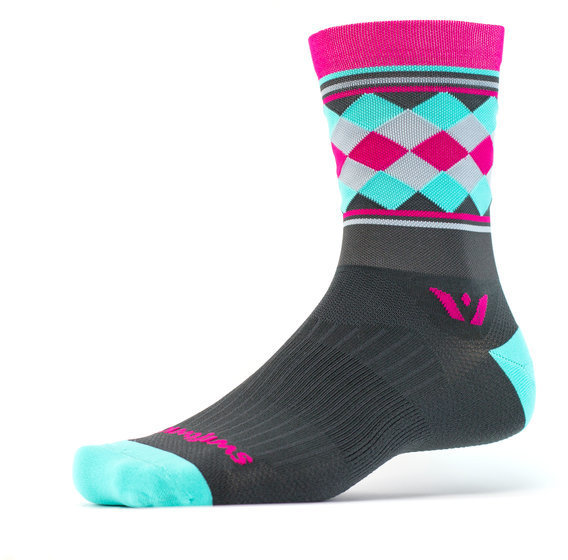 Swiftwick Vision Five Argyle Stripe - Crew Socks Color: Gray/Pink/Mint
