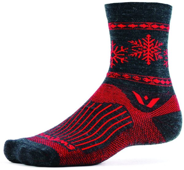 Swiftwick Vision Five Snowflake Color: Coal Red