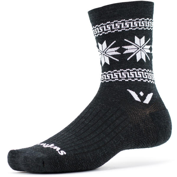 Swiftwick Vision Five Winter Collection - Crew Socks Color: Coal White