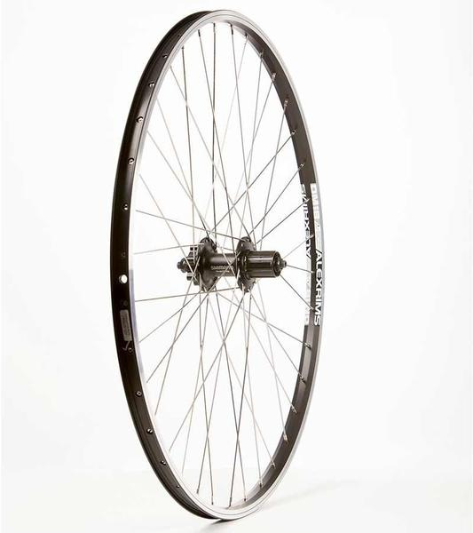 The Wheel Shop Alex DM-18/Shimano FH-M475 700c Rear Axle | Color | Size: QR | Black | 700c