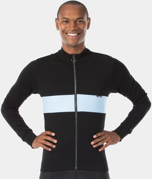 Trek Calivetta Long Sleeve Wool Cycling Jersey Color: Black/Light Blue