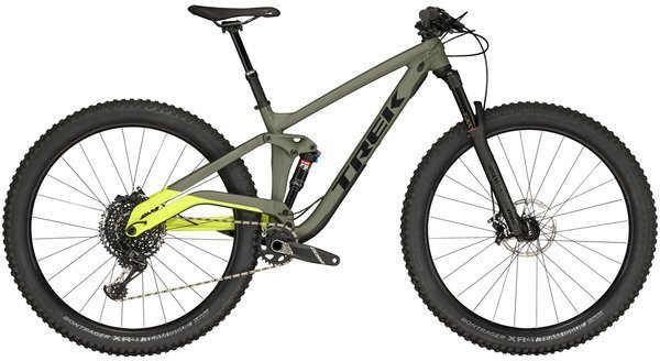 Trek Full Stache 8 Color: Matte Olive Grey/Gloss Volt Green