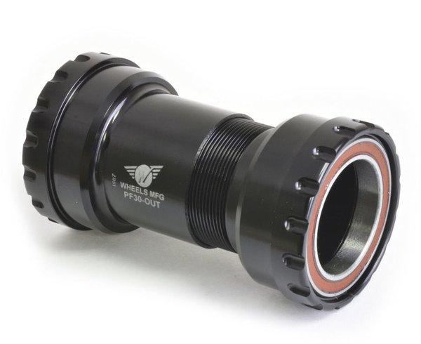 Wheels Manufacturing Inc. PF30 Outboard Angular Contact Bottom Bracket for 30mm Cranks Color | Model | Spindle | Width: Black | PF30 | 30mm | 61 – 83mm
