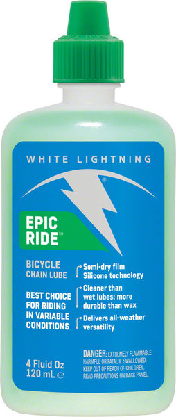 White Lightning Epic Ride Bike Chain Lube Size: 4-ounce