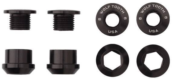 Wolf Tooth Components Set of 4 Chainring Bolts+Nuts For 1x Color: Black
