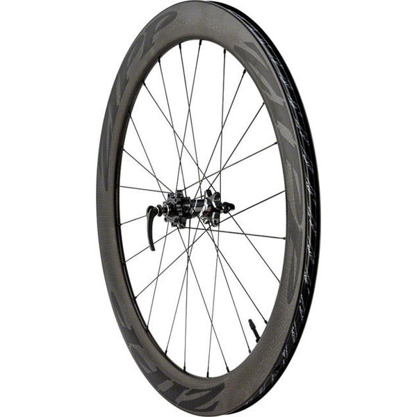 Zipp 404 Firecrest Carbon Clincher Tubeless Disc Brake 700c Front Axle | Cassette Compatibility | Color | Size: QR | N/A | Black w/Black Decal | 700c