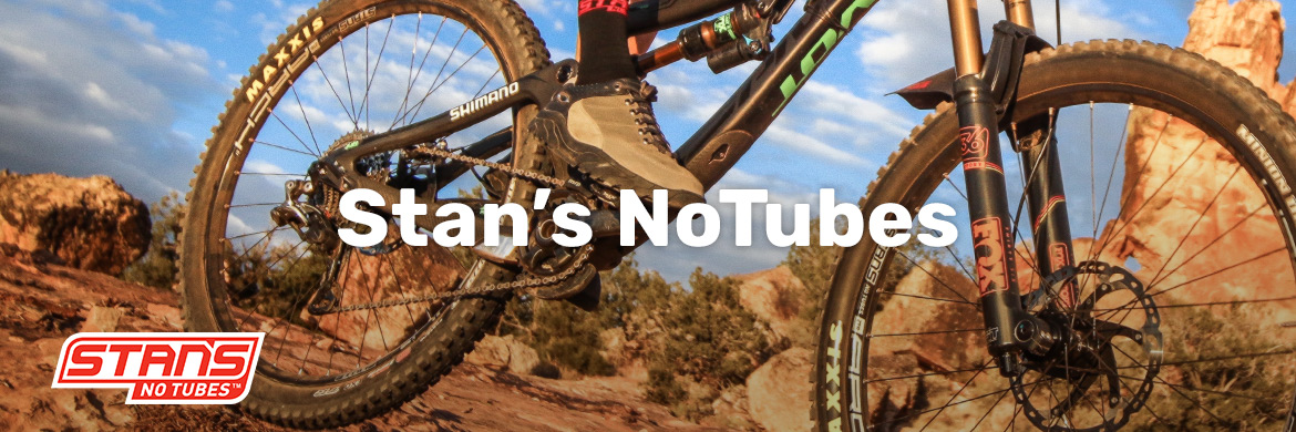 Stan's NoTubes Tubeless wheels, sealant, and accessories.