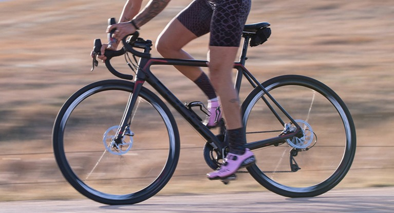 Woman riding road bike