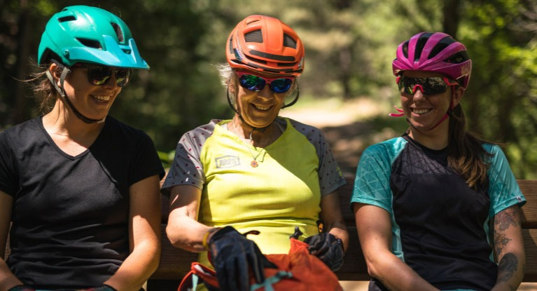 Women wearing helmets