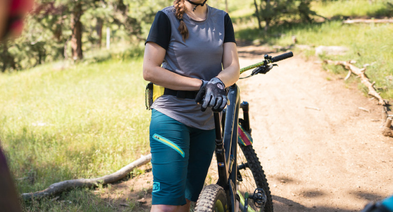 Woman wearing mountain bike apparel
