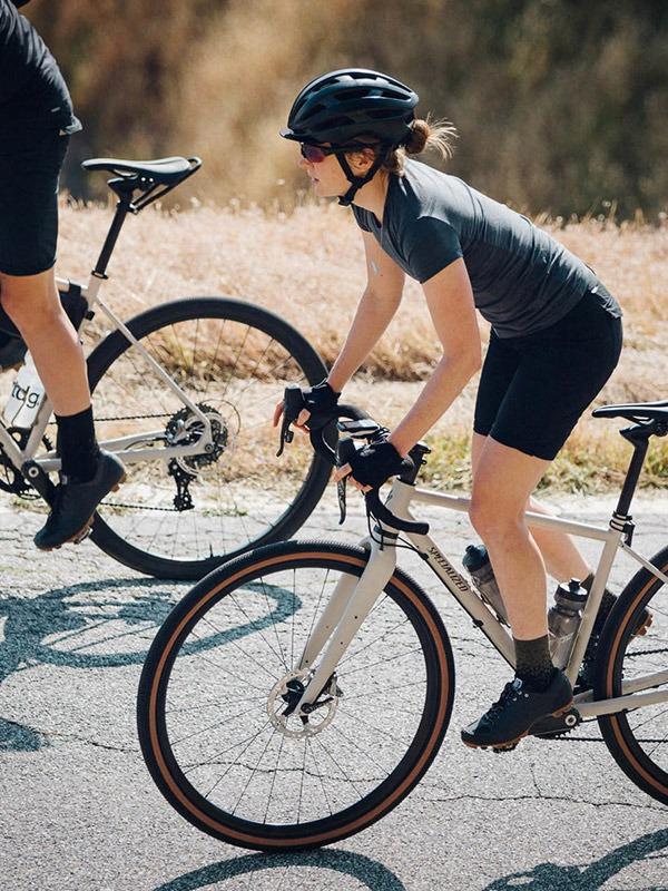 Girl on road bike