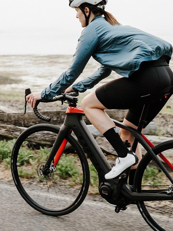 Woman on electric bike
