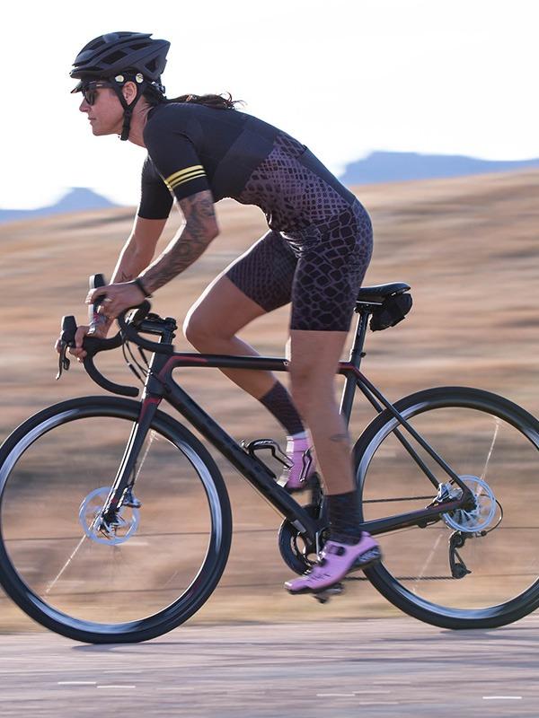 Woman on road bike