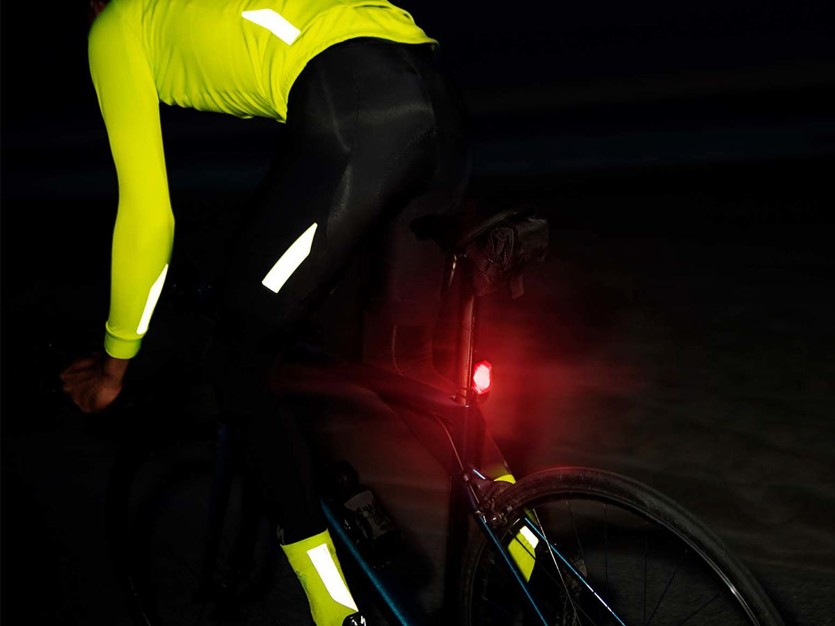 bike with taillight at night