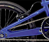 BMX race bike brake mounts are located on top of the seatstays.