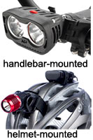 Handlebar- and helmet-mounted bicycle lights are a powerful combination!