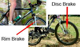 Examples of rim and disc brakes on bikes.