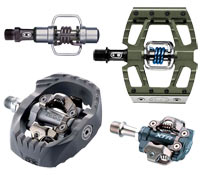 Mountain bike clipless pedals engage on both sides!