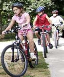 Riding to school with friends is safest.