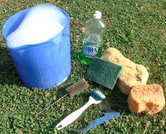 A bucket, water, soap, sponges and brushes is all it takes!