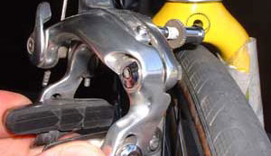 For road bikes with sidepull brakes, remove the front brake.