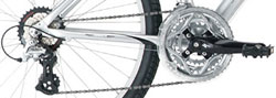 Derailleur drivetrains offer wide-range gearing excellent for long and hilly rides!