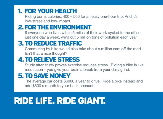 There are lots of reasons to ride a Giant bicycle.