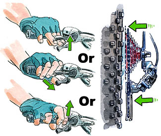 Lifting/pulling up (fingers) or pushing (thumb) shifts the bike into easier pedaling cogs.