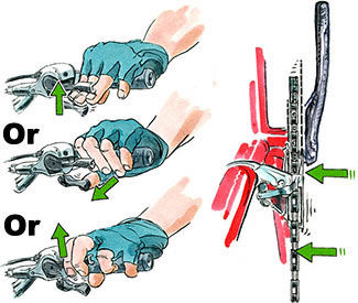 Lifting/pulling up (fingers) or pushing (thumb) shifts the bike into easier pedaling chainrings.