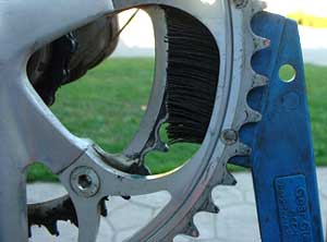 Clean the chainrings with a rag and brush.