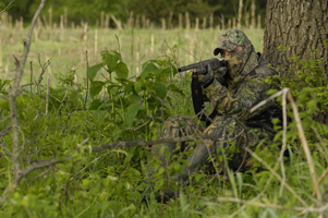 Trees provide cover, a backrest and protection to turkey hunters. Photo courtesy Mossy Oak