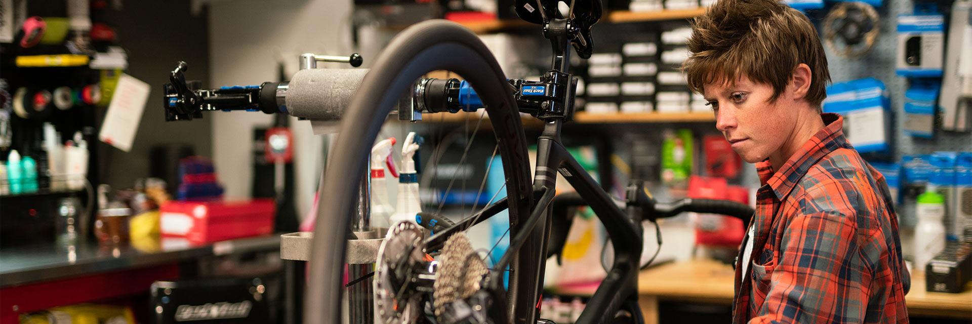 Bike Technician repairing a bike
