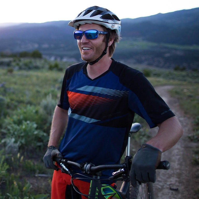 Rider wearing cycling apparel