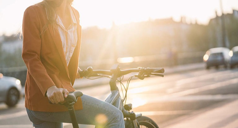 Cyclist on a hybrid bike