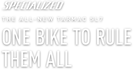 "Specialized Red Tarmac SL7 | with slogan ""One Bike to Rule Them All"""