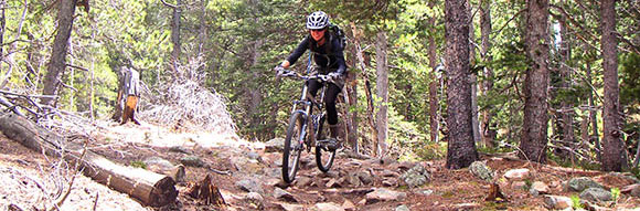 You float over the rocks an a full-suspension bicycle!