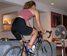 A fan and a good saddle and quality shorts make indoor riding comfortable!