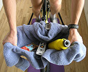 A towel holds ride goodies and keeps you dry!
